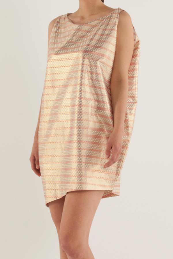 船型領不對稱連身裙〈鱗紋〉