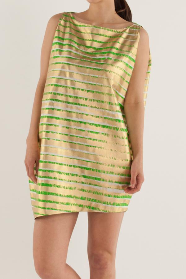船型領不對稱連身裙〈橫條紋〉