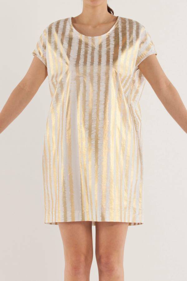 圓領直條紋連身裙〈條紋〉