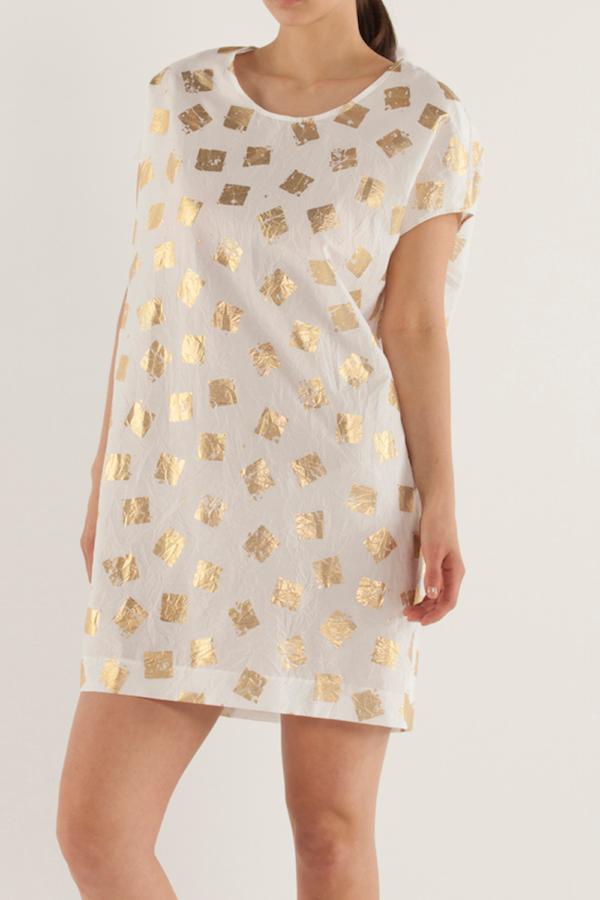 圓領直條紋連身裙〈方塊〉